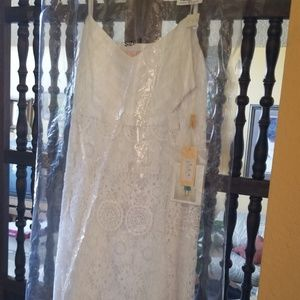 Spaghetti Strap White Cotton Lace Dress Wedding